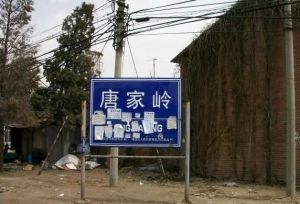 Tangjialing village sign, when the village was being demolished